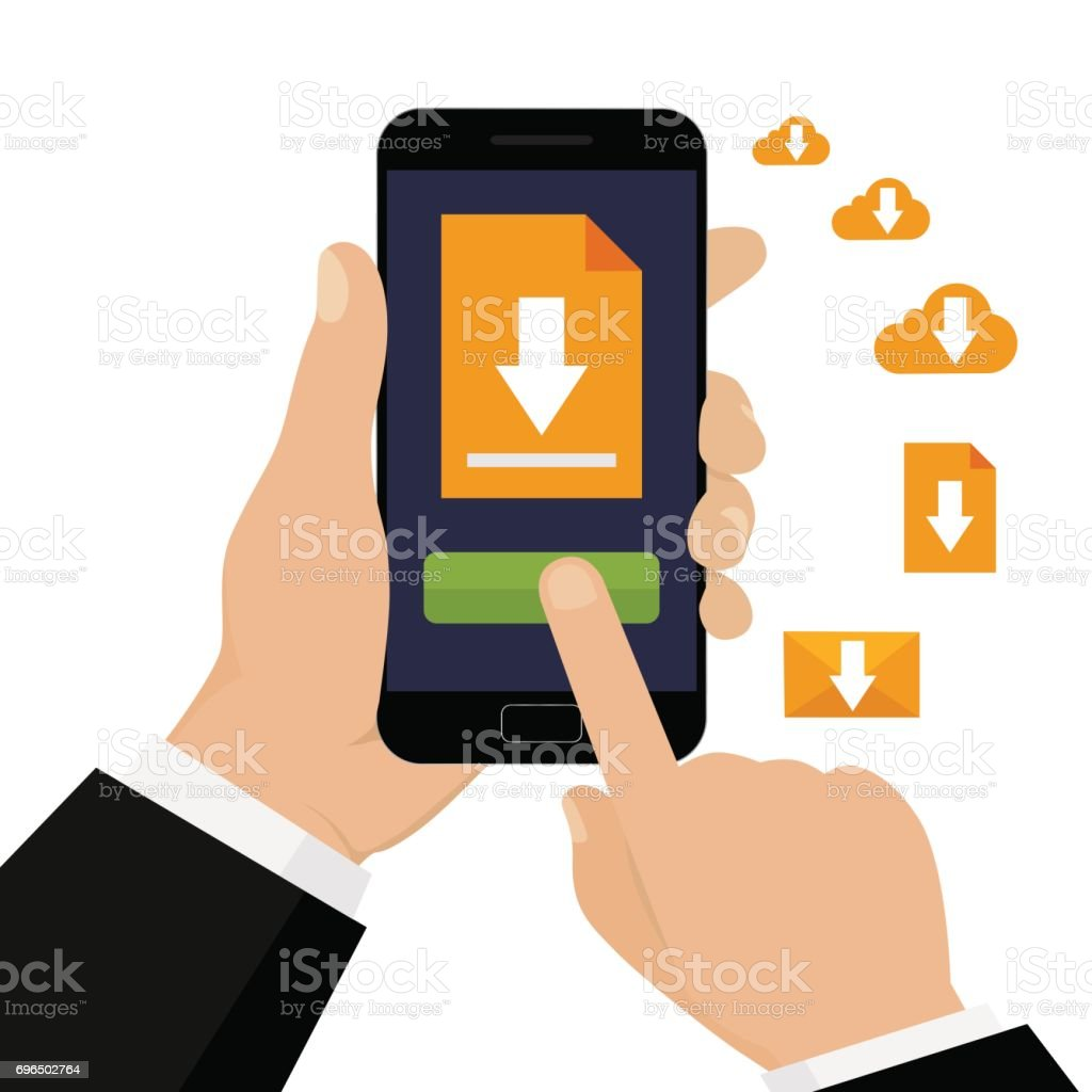 File download with phone. vector art illustration