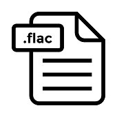 file .flac Thin Line vector Icon