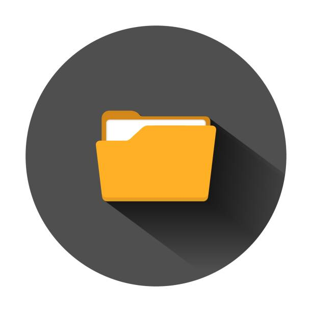 file folder icon in flat style. documents archive vector illustration on black round background with long shadow. storage business concept. - ring binder stock illustrations