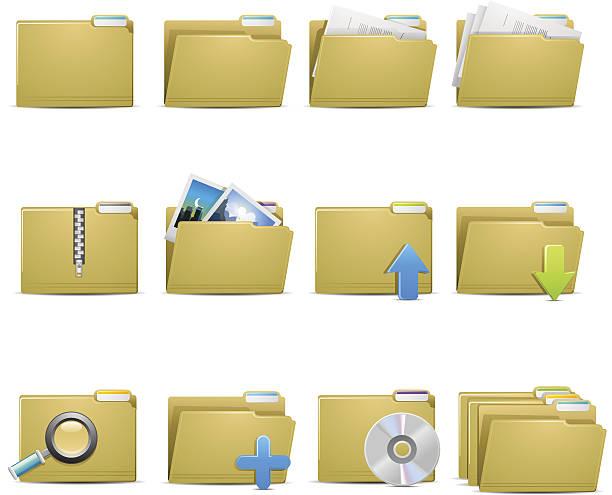 stockillustraties, clipart, cartoons en iconen met file folder icons - dossier