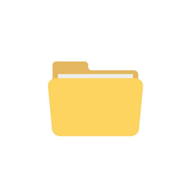 dateiordner flach auf weißem hintergrund - folder stock-grafiken, -clipart, -cartoons und -symbole