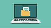 istock File folder organization paperwork database on laptop concept 1305300069