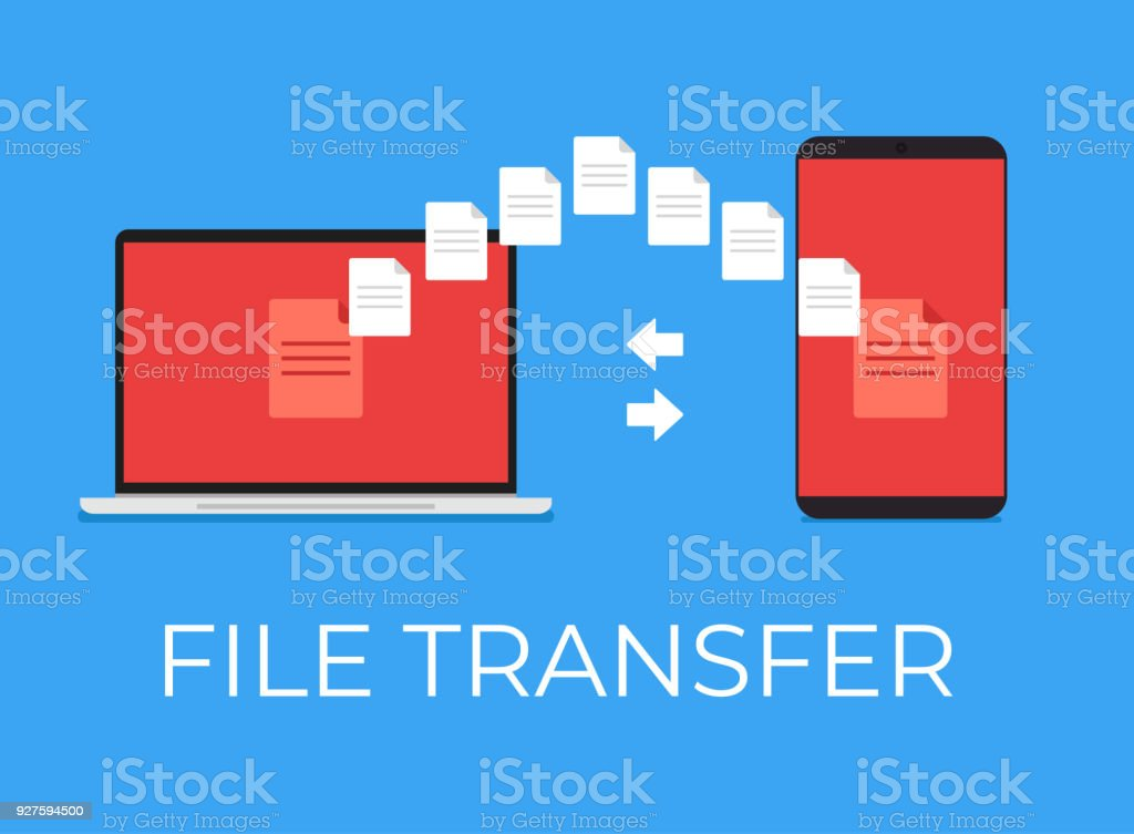file folder transfer upload by wifi between phone and laptop stock