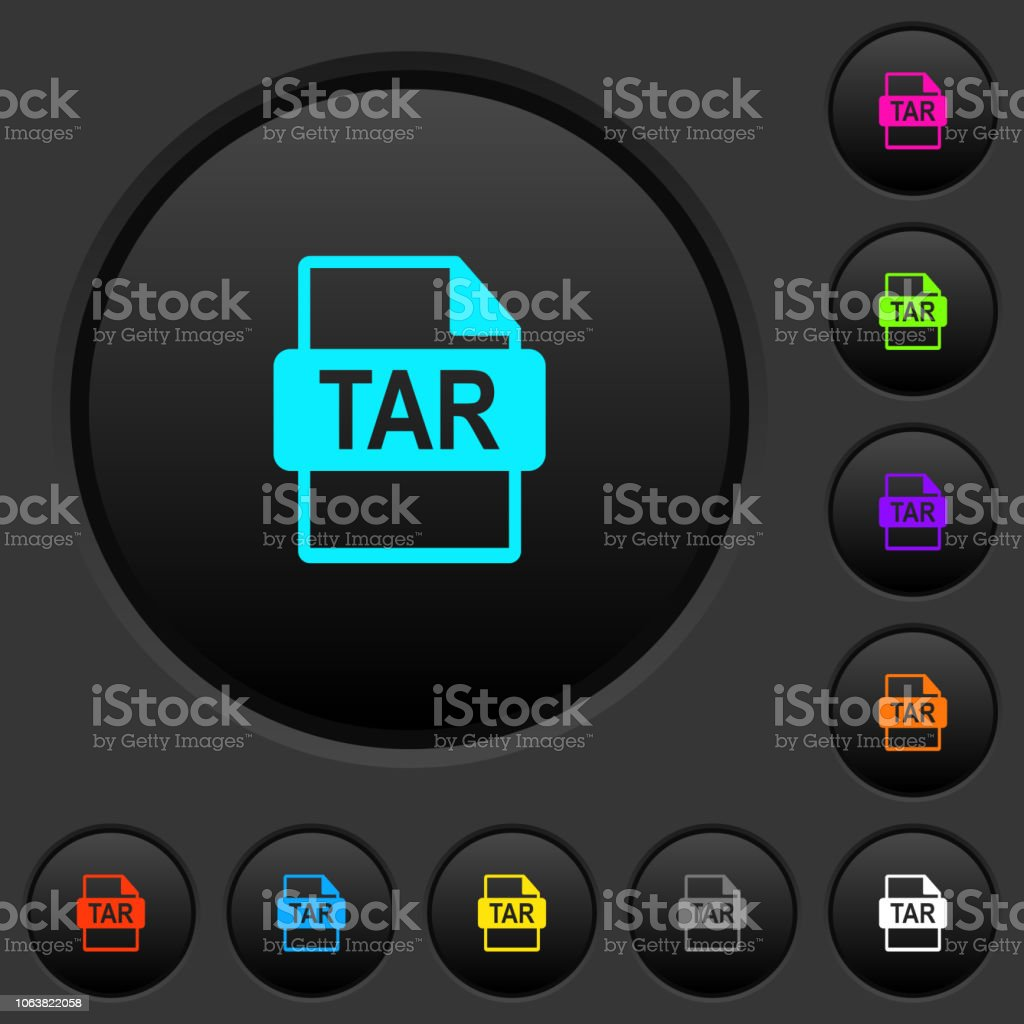 TAR file format dark push buttons with color icons vector art illustration