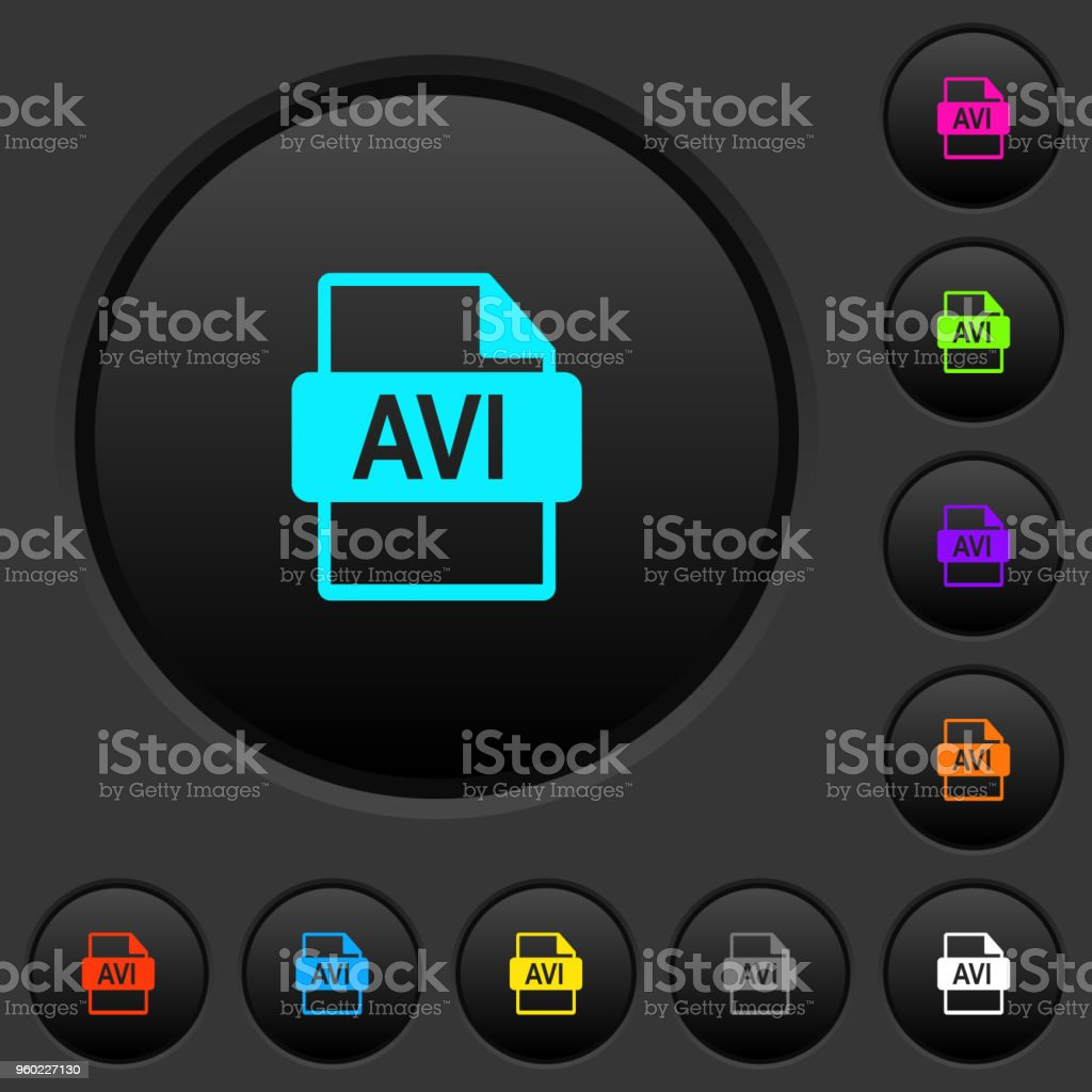 AVI file format dark push buttons with color icons vector art illustration