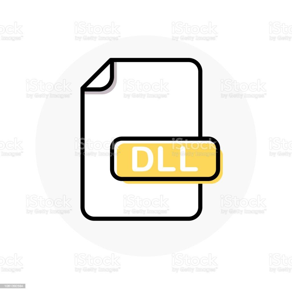 DLL file format, extension color line icon vector art illustration