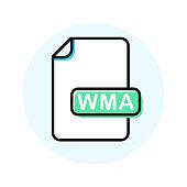 WMA file format, extension color line icon