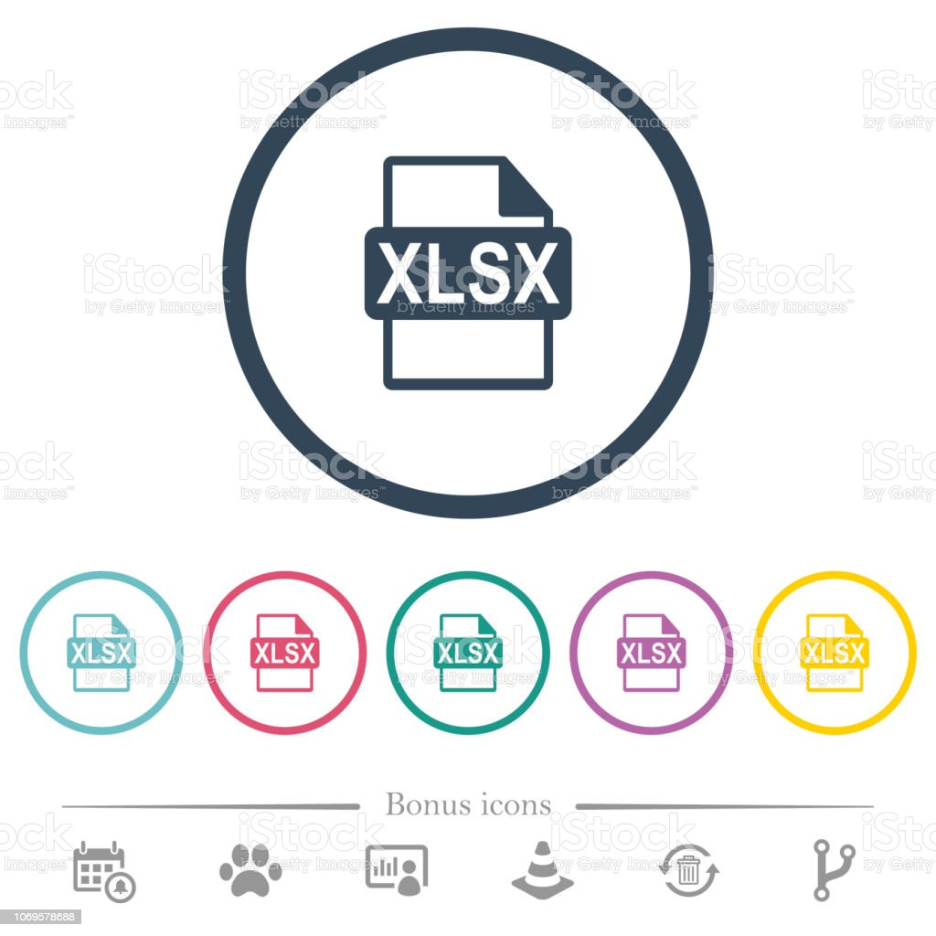 XLSX file format flat color icons in round outlines