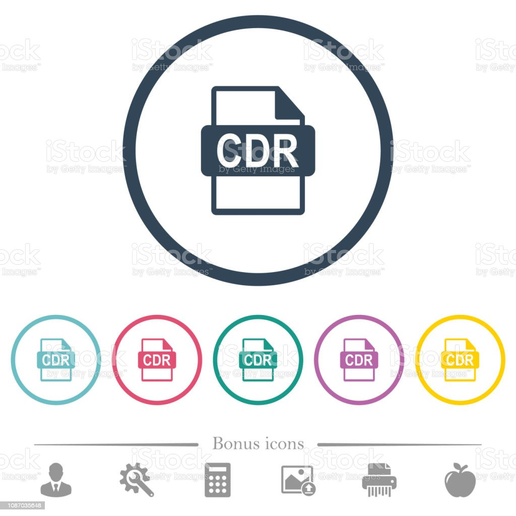 Cdr File Format Flat Color Icons In Round Outlines Stock