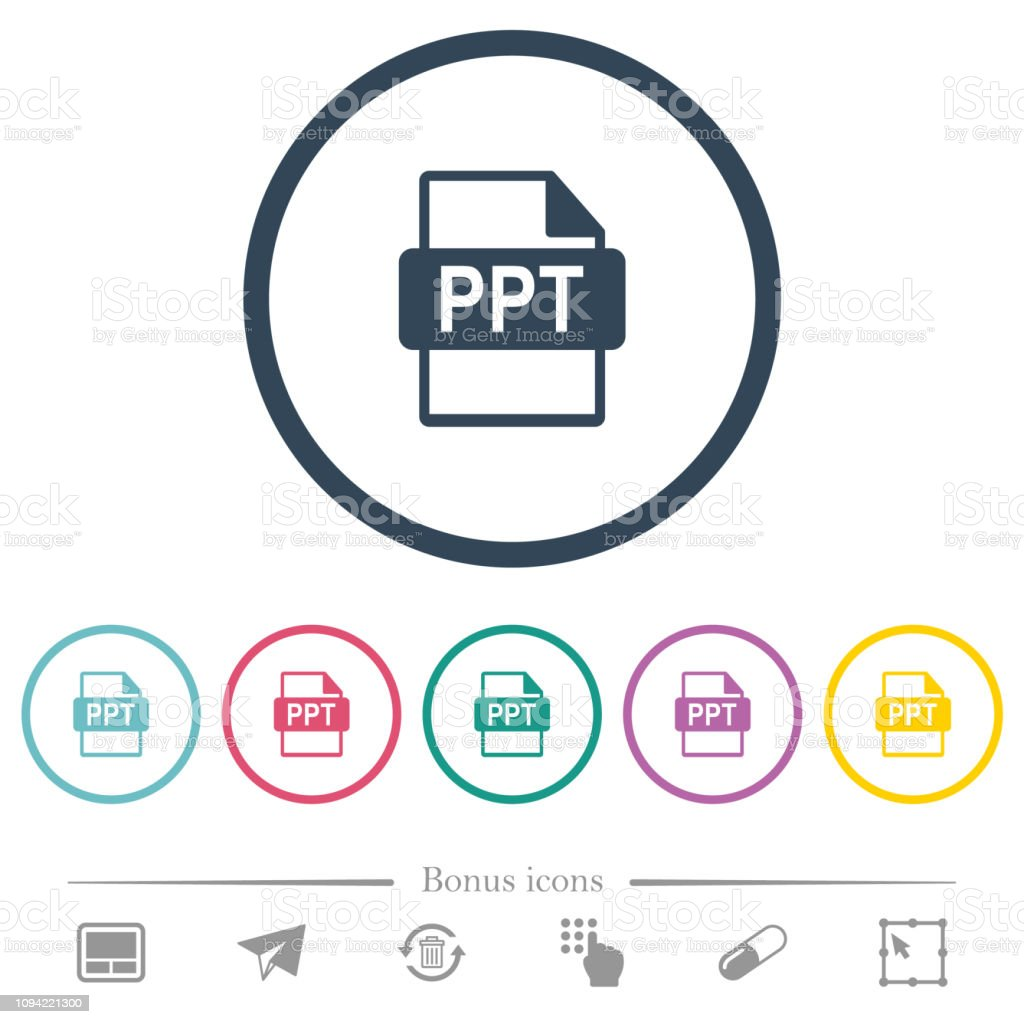 Ppt File Format Flat Color Icons In Round Outlines Stock Illustration -  Download Image Now