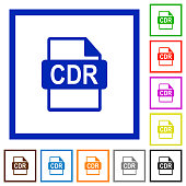 CDR file format flat color icons in square frames on white background