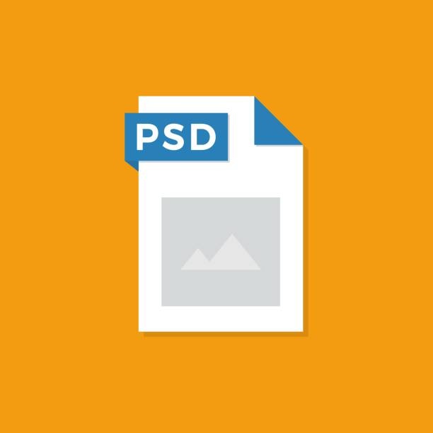 PSD-bestandsformaat platte pictogram. Vector illustratie.vectorkunst illustratie