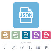 istock JSON file format flat icons on color rounded square backgrounds 1340671762
