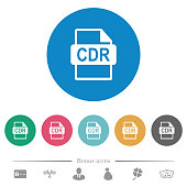 CDR file format flat white icons on round color backgrounds. 6 bonus icons included.