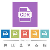 CDR file format flat white icons in square backgrounds. 6 bonus icons included.