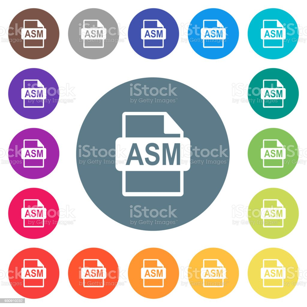 ASM file format flat white icons on round color backgrounds vector art illustration