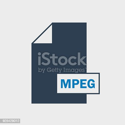 istock MPEG file format Icon on gray Background. 925429012
