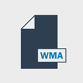WMA file format Icon on gray background.