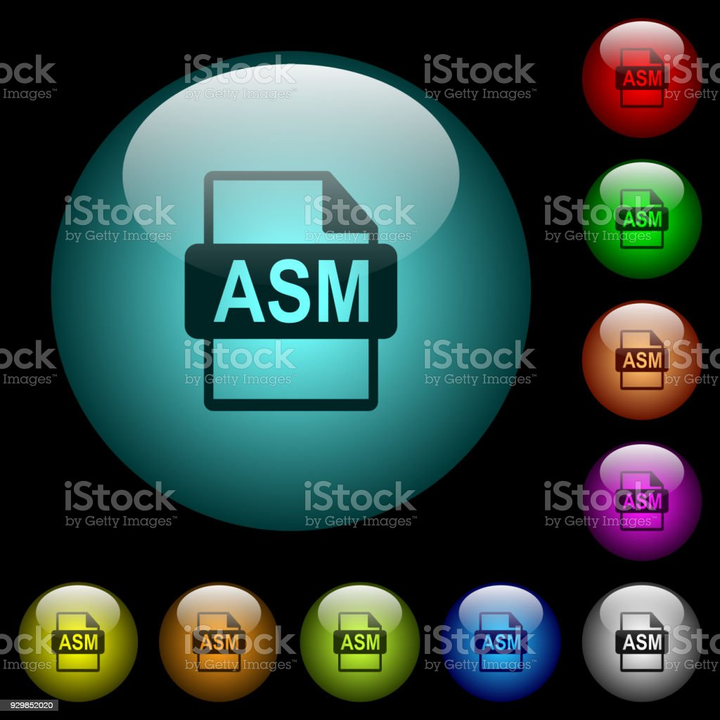 ASM file format icons in color illuminated glass buttons vector art illustration