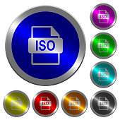 ISO file format luminous coin-like round color buttons