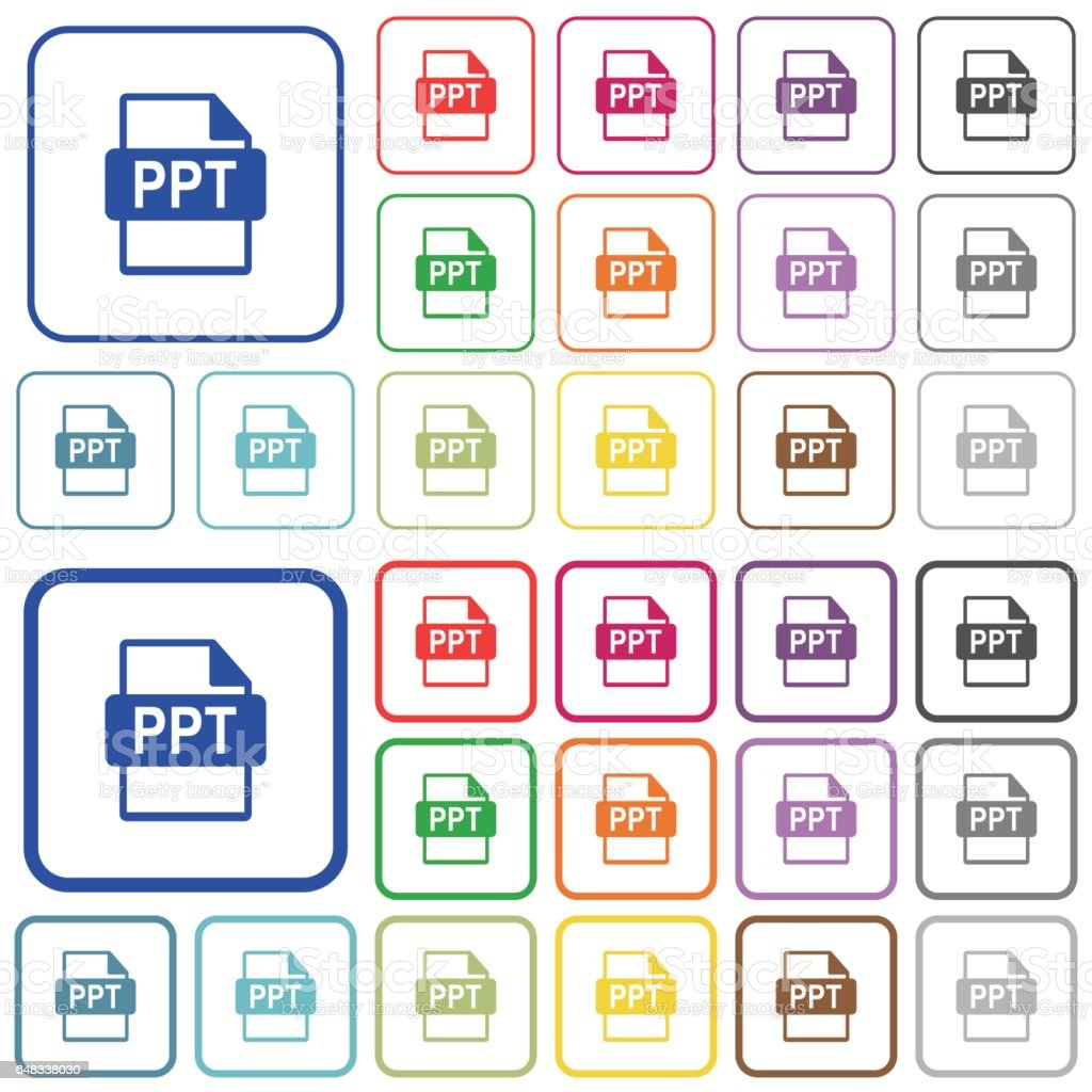 ppt file format outlined flat color icons guiのベクターアート素材