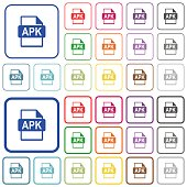 APK file format outlined flat color icons