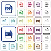 LOG file format outlined flat color icons