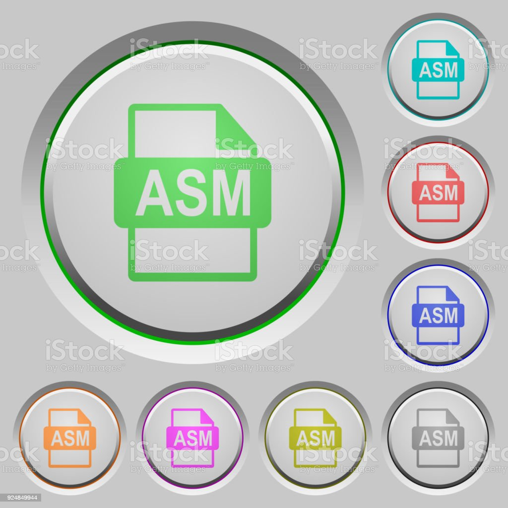 ASM file format push buttons vector art illustration