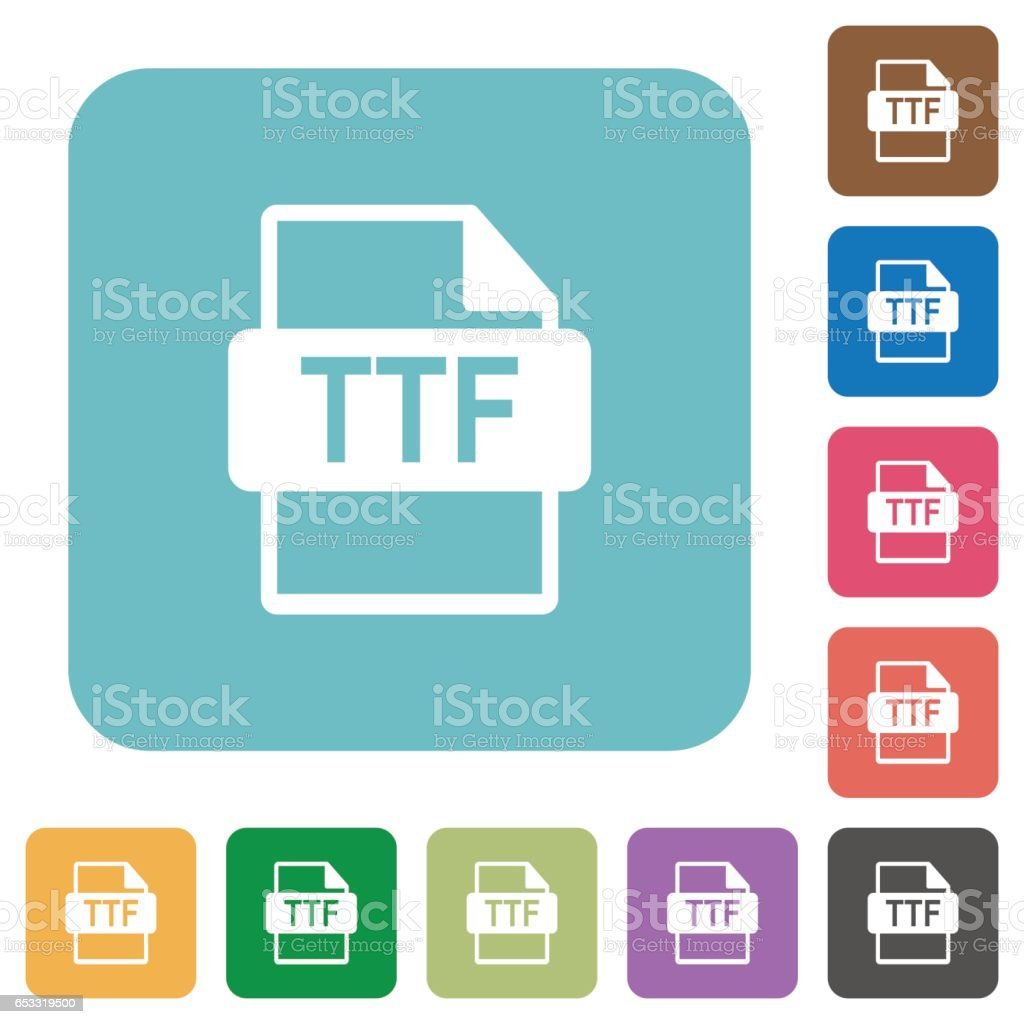 Ttf File Format Rounded Square Flat Icons Stock Vector Art & More Images of  Bent