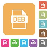 DEB file format rounded square flat icons