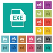EXE file format square flat multi colored icons