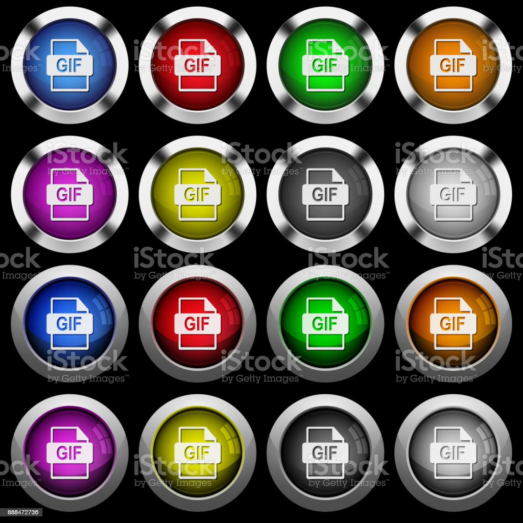 Gif File Format White Icons In Round Glossy Buttons On Black