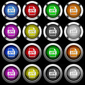APK file format white icons in round glossy buttons on black background