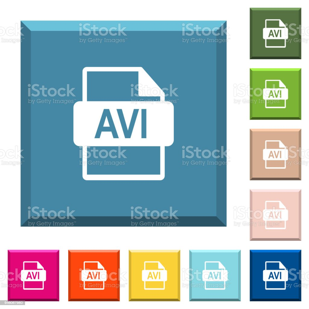 AVI file format white icons on edged square buttons vector art illustration