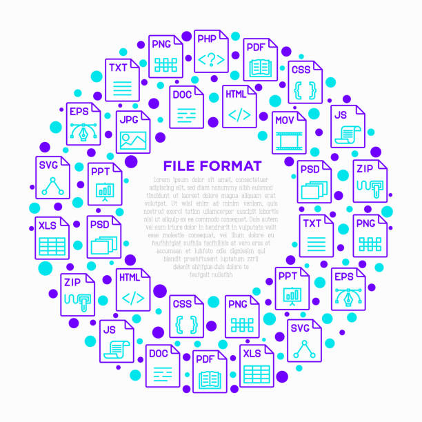 File formats concept in circle with thin line icons: doc, pdf, php, html, jpg, png, txt, mov, eps, zip, css, js. Modern vector illustration, print media template. File formats concept in circle with thin line icons: doc, pdf, php, html, jpg, png, txt, mov, eps, zip, css, js. Modern vector illustration, print media template. svg stock illustrations