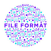 File formats concept in circle with thin line icons: doc, pdf, php, html, jpg, png, txt, mov, eps, zip, css, js. Modern vector illustration, print media template.