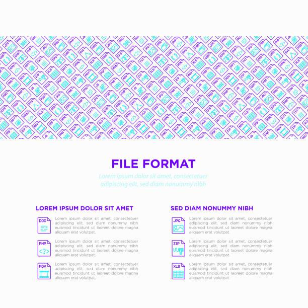 Bestand formaten concept met dunne lijn pictogrammen: doc, pdf, php, html, jpg, png, txt, mov, EPS-, zip, css, js. Moderne vectorillustratie, drukmedia sjabloon.vectorkunst illustratie