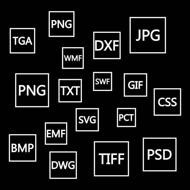 Formaten plat pictogrammen bestandenset. Witboek document pictogrammen met verschillende bestandstypen, extensies. Web design grafische elementen. Vector iconen geïsoleerd op zwarte achtergrondvectorkunst illustratie