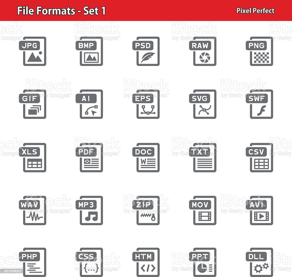 File Formats Icons - Set 1 vector art illustration