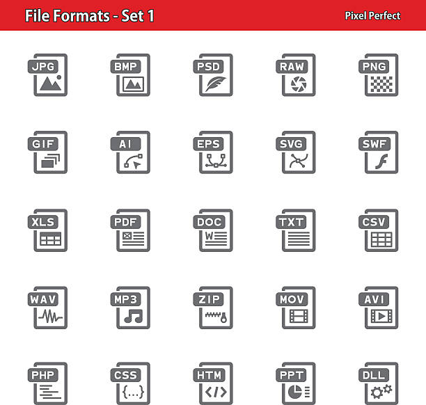 File Formats Icons - Set 1 Professional, pixel perfect icons depicting various file formats concepts. svg stock illustrations