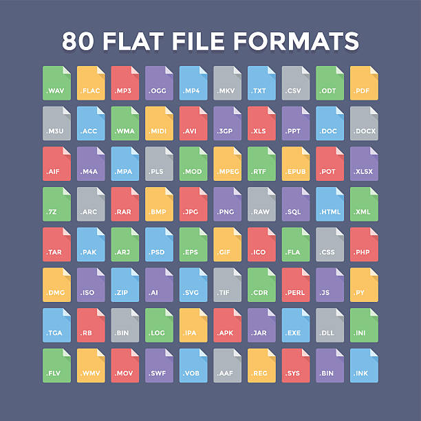 File Formats Icons Flat file format icons. Audio, video, image, system, archive, code and document file types svg stock illustrations