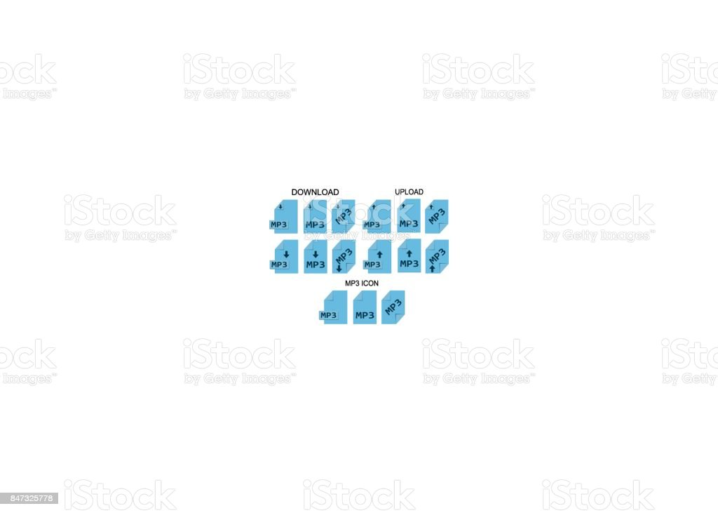 MP3 file formats. Music file type icons vector art illustration