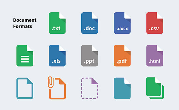 File Formats of Document icons vector art illustration