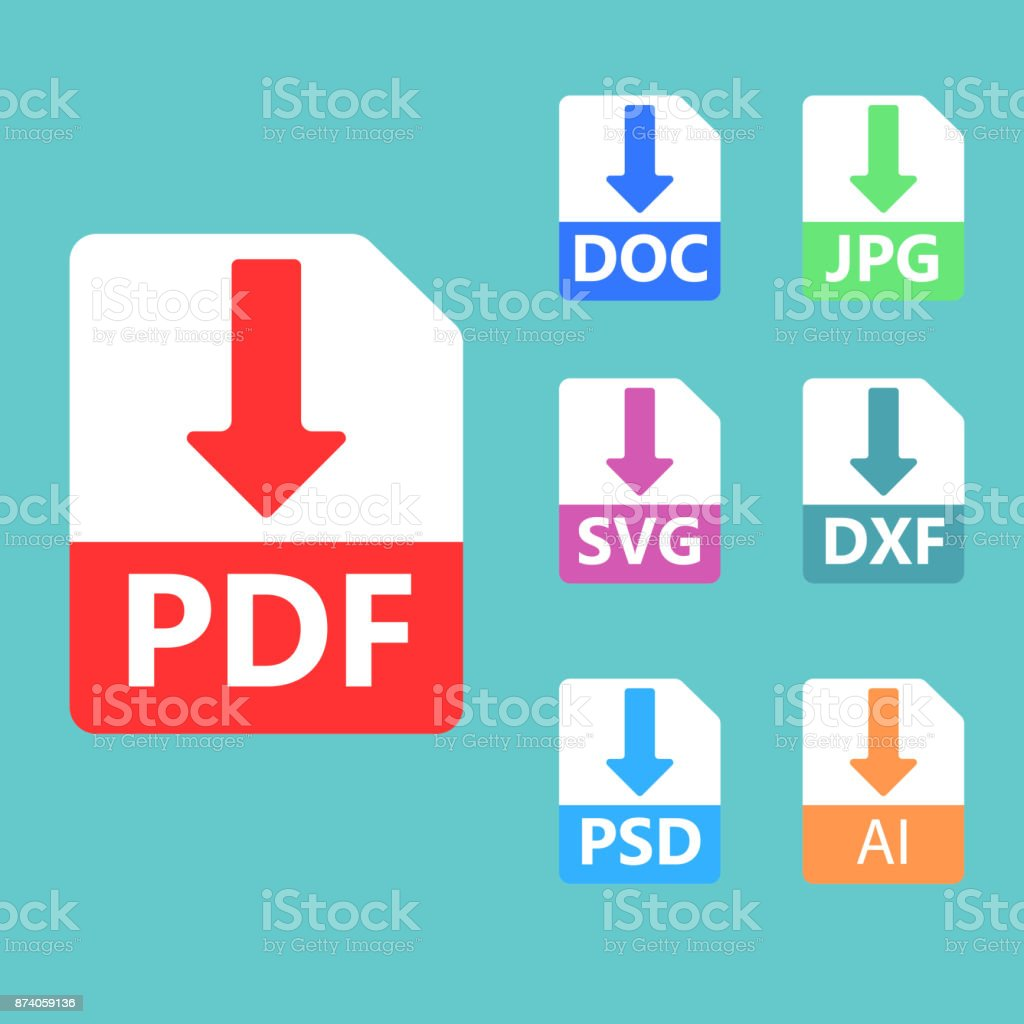 PDF, SVG, DOC, JPG, PSD, AI bestand formaten. Vector iconen.vectorkunst illustratie