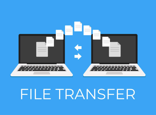 File ftp online wi fi upload transfer between laptop and laptop. Vector flat cartoon icon illustration File ftp online wi fi upload transfer between laptop and laptop transfer image stock illustrations