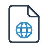 file globe thin colour line vector icon
