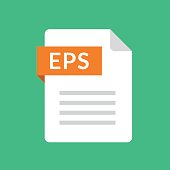 EPS file icon. Encapsulated PostScript document type. File extension. Flat design graphic illustration. Vector EPS icon