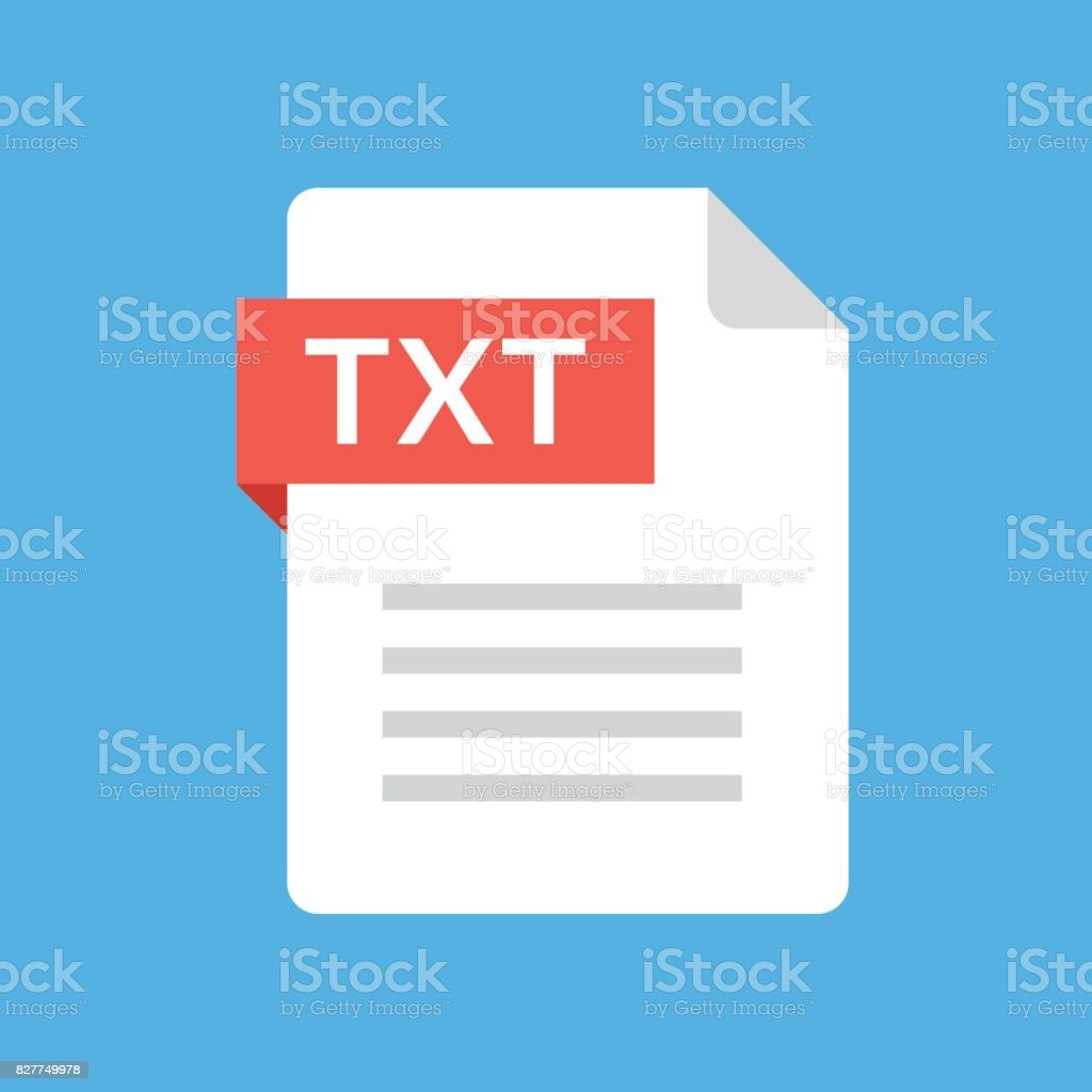 TXT file icon. Text document type. File extension. Flat design graphic illustration. Vector TXT icon