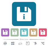 File info flat icons on color rounded square backgrounds