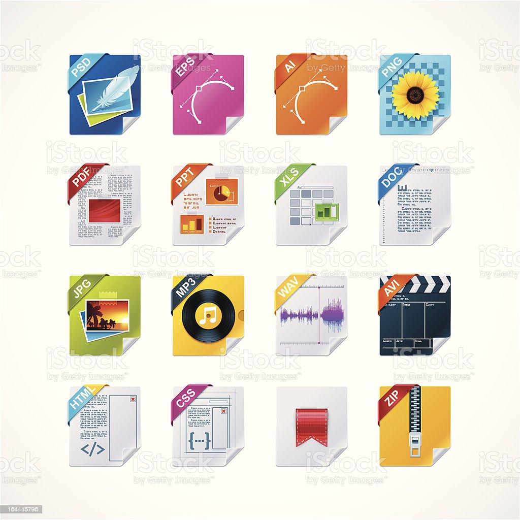 File labels icon set vector art illustration